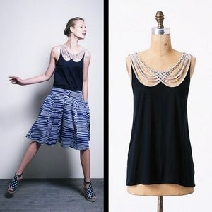 Anthro Leifnotes Navy Scalloped Rope Strings Tank